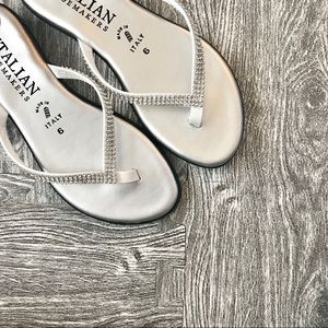 Crystal Strap Silver Sandals